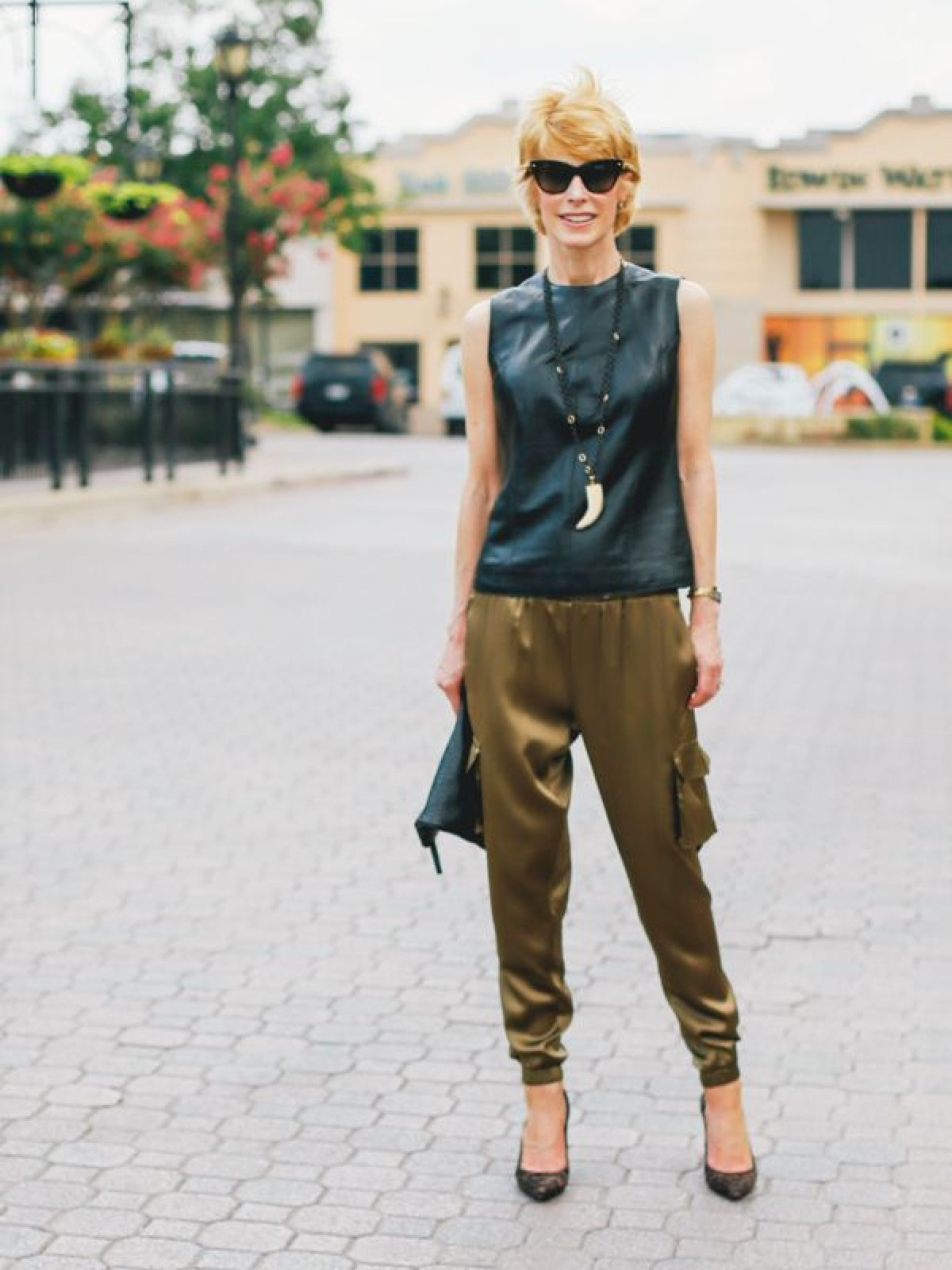 LEATHER TOP AND CARGO PANTS