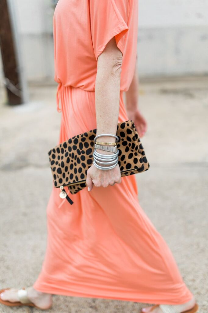 orange maxi dress- leopard clare v clutch- budhagirl bracelets- maxi dresses over 50