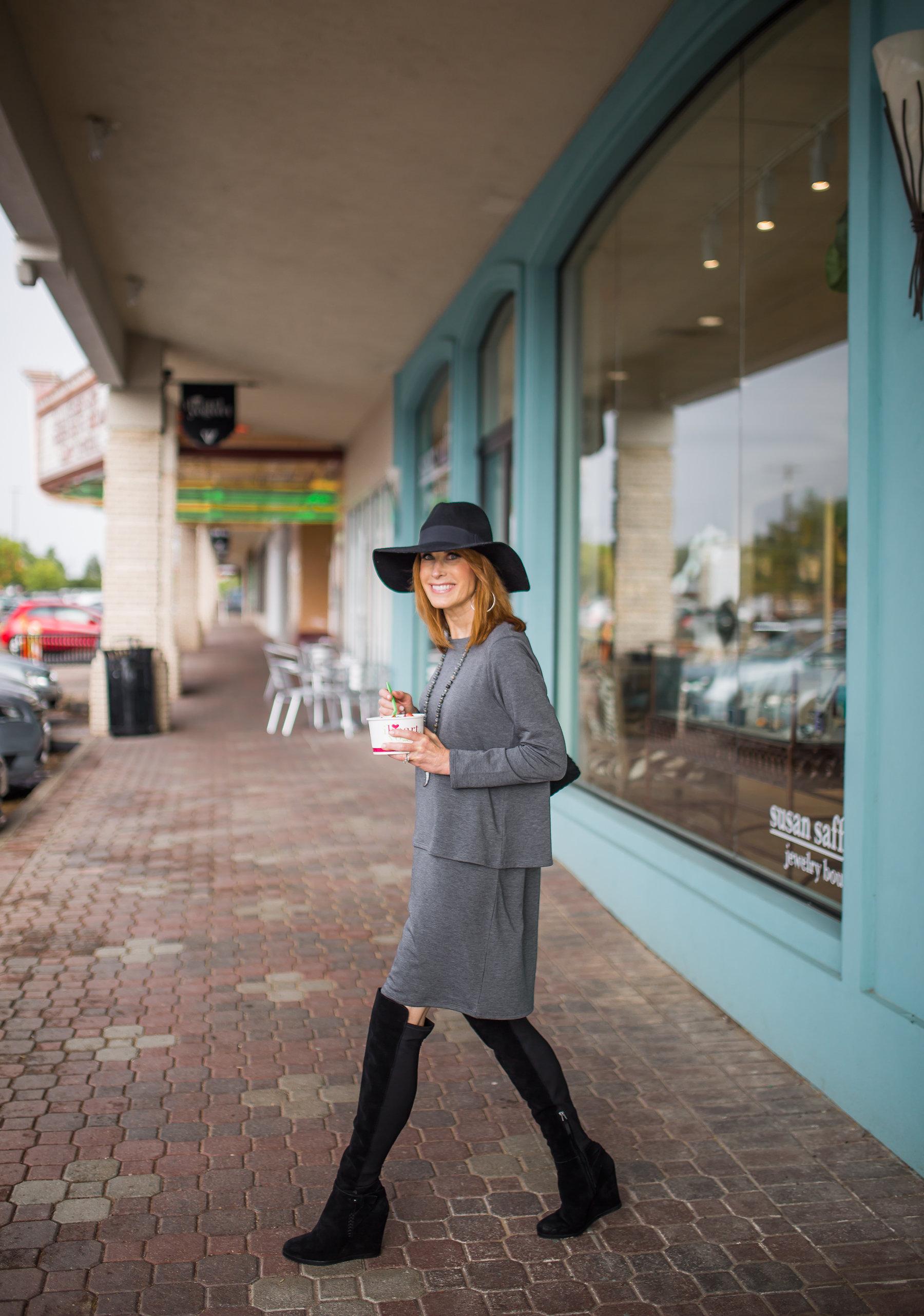 dallas fashion blogger- j.jill pure jill luxe tencel collection-gray tiered dress
