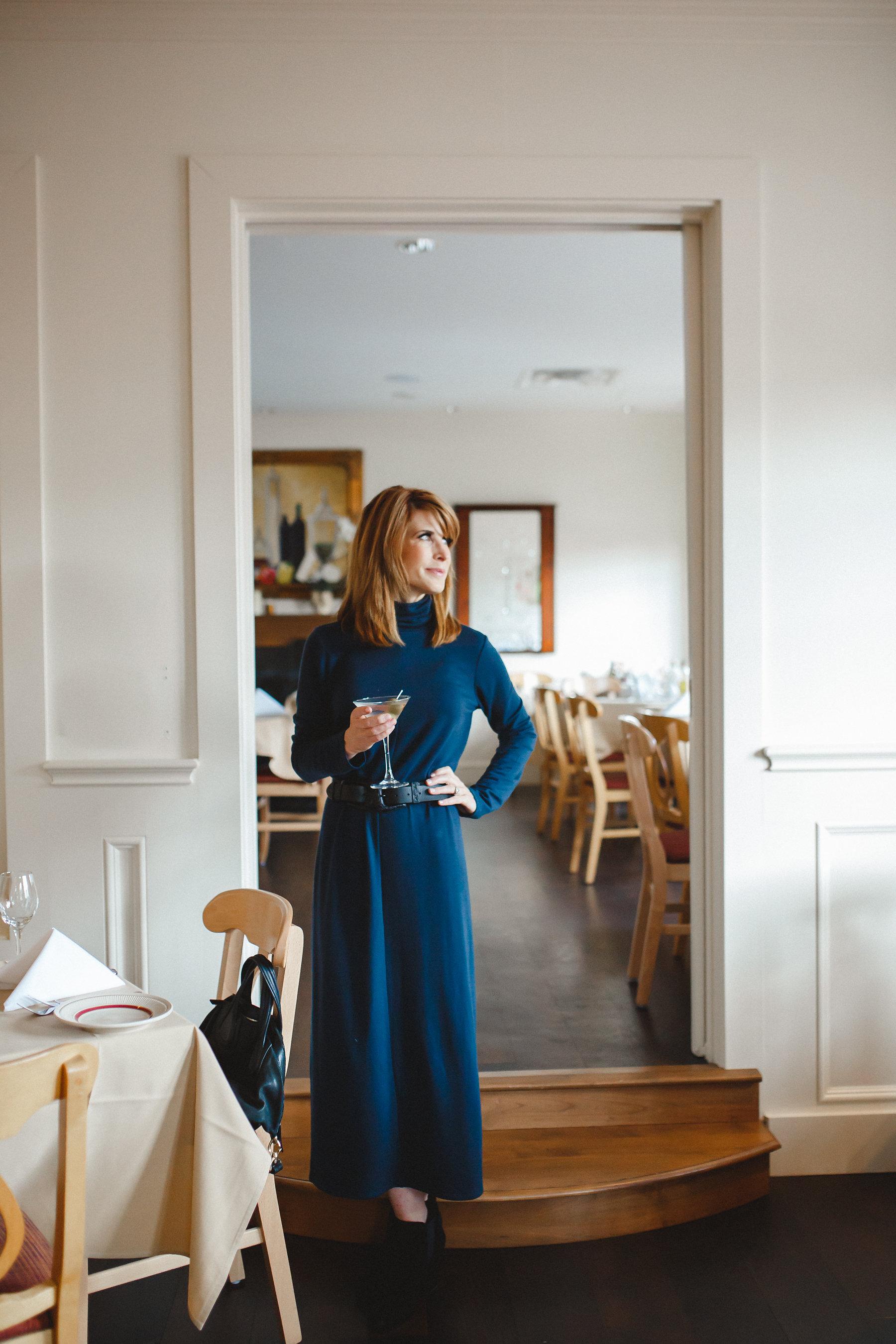 dallas fashion blogger- j.jill pure jill luxe tencel collection-turtleneck knit maxi dress