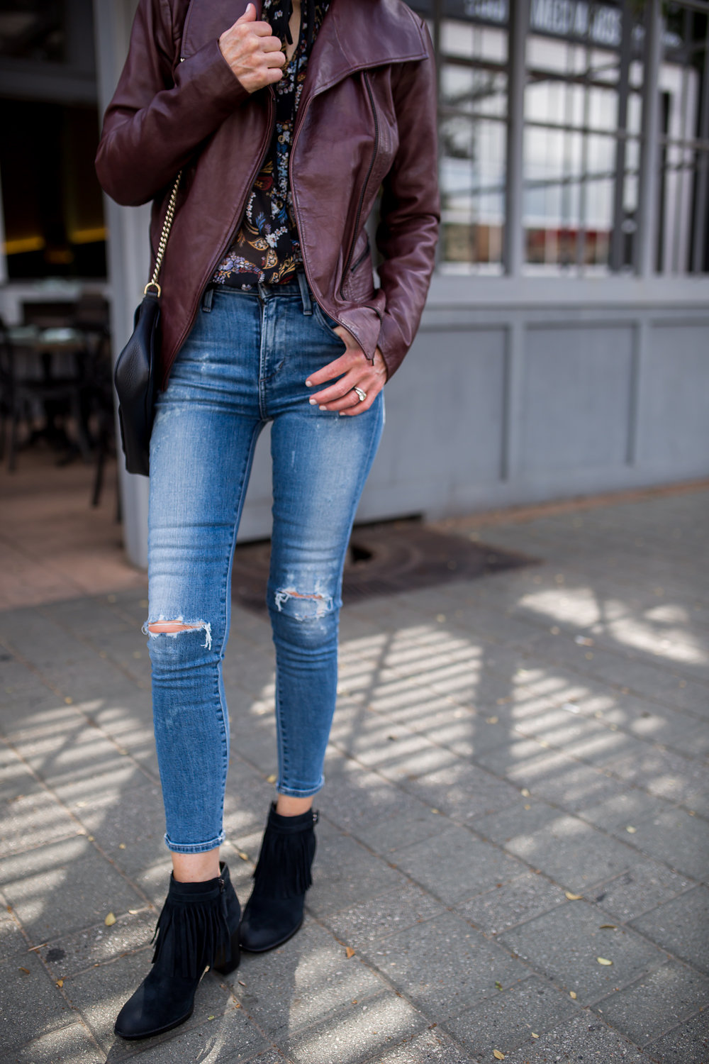 BERNARDO LEATHER JACKET- NATURALIZER SUEDE BOOTIE- DALLAS FASHION BLOGGER