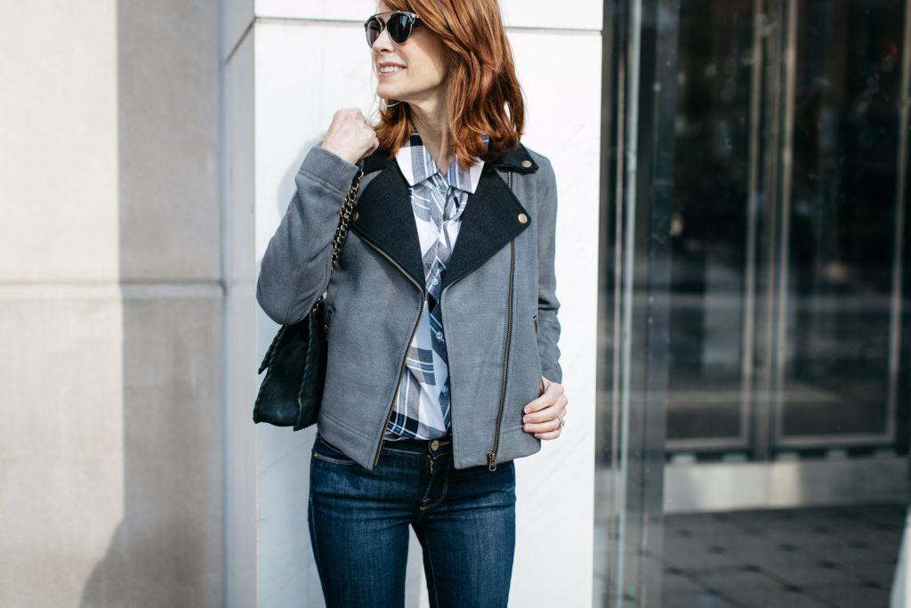 Lilla P Moto Jacket- Black and Gray Jacket- Chic at Every Age