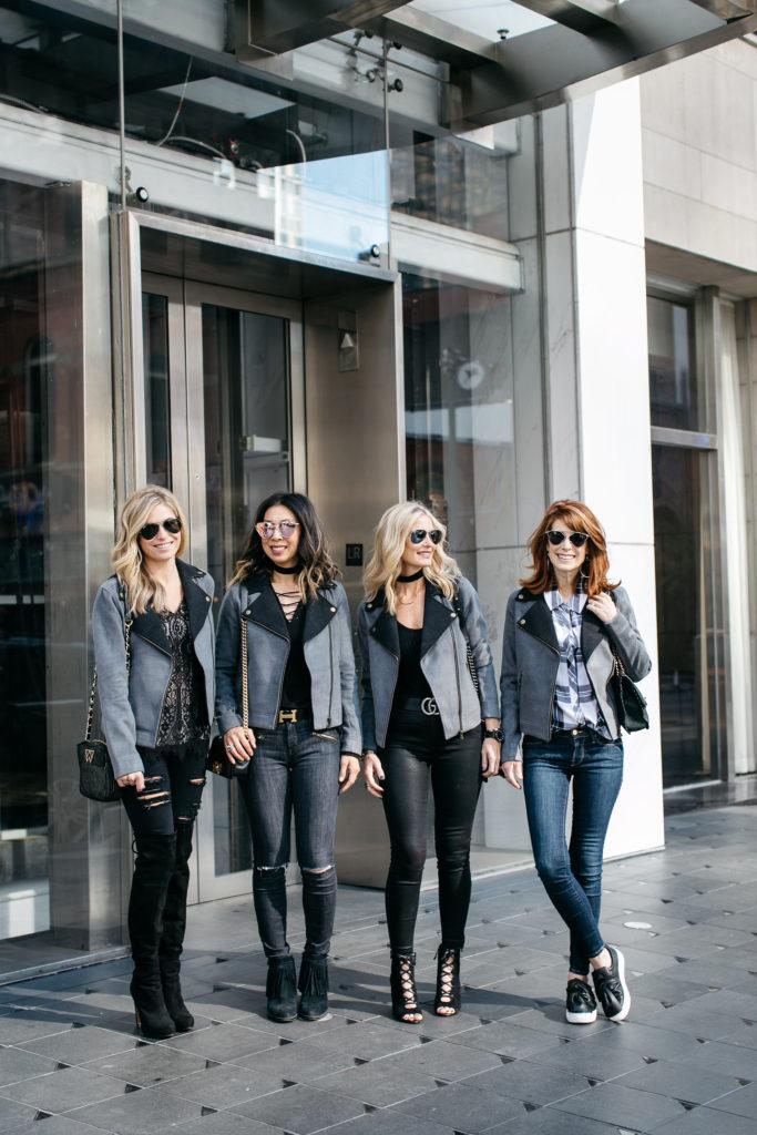 Lilla P Moto Jacket- Gray and black Jacket- Chic at Every Age