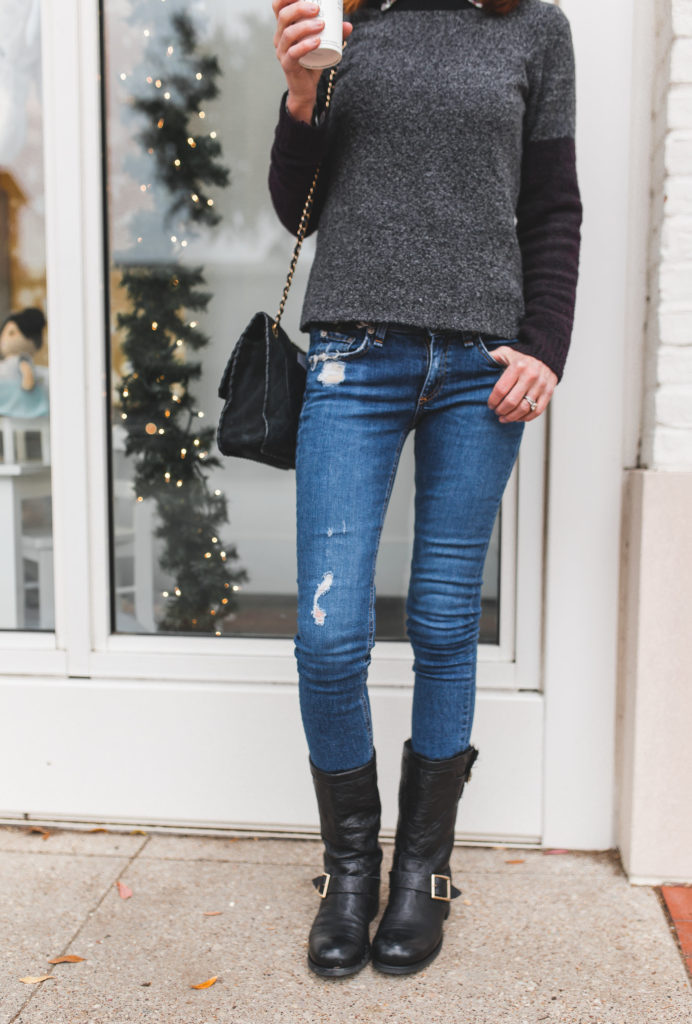 Lilla P color block sweater- ripped jeans- moto boots