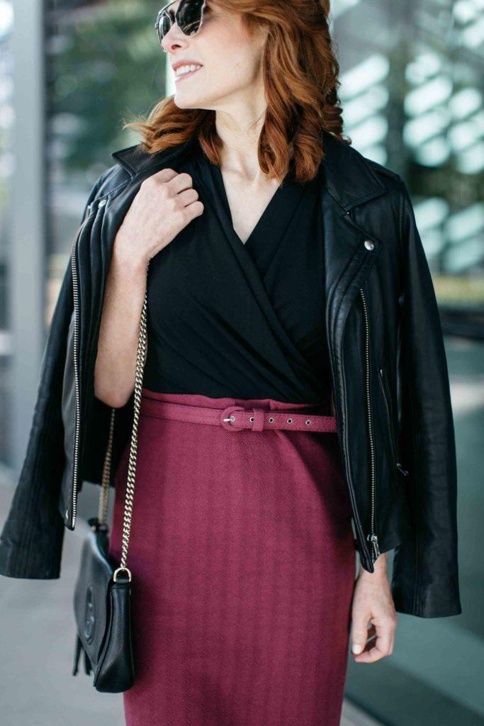 Plum and Black Colorblock Dress- Work Dress- Dallas Fashion Blogger
