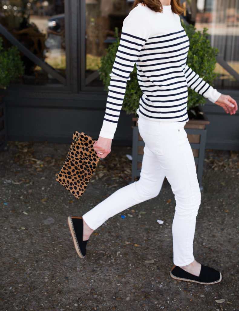 Striped Sweater with Rose Gold Buttons- Striped Black and White Sweater- Vionic Black Espadrilles