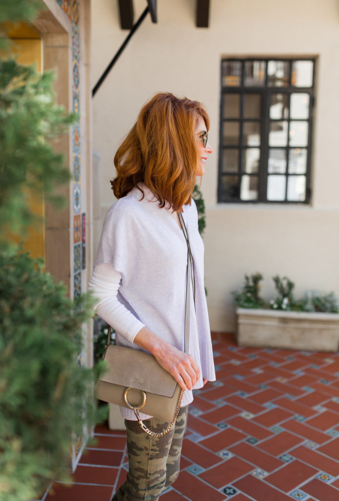 lavender shawl collar pullover- camo denim-suede wedges