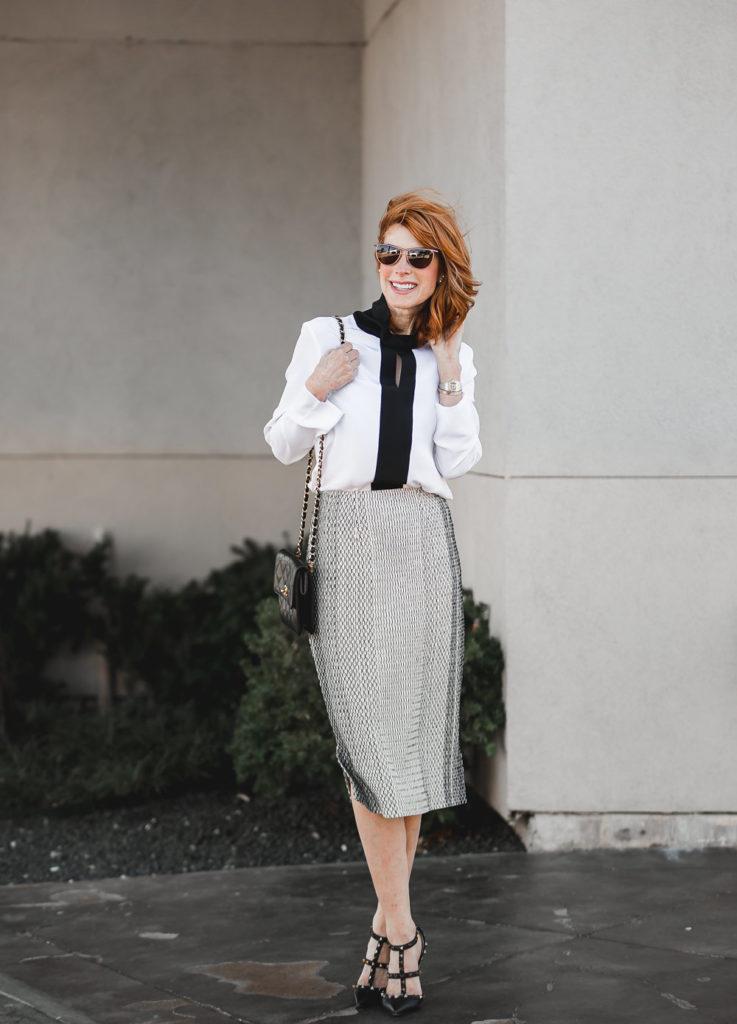 Misook Knit Patterned Skirt- Black and White Patterned Skirt-Misook Silk Blouse