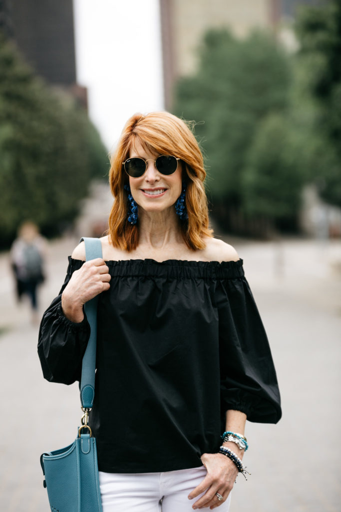 Black Off the Shoulder Top- J.Crew Black Off the Shoulder Cotton Top- Off the Shoulder Top