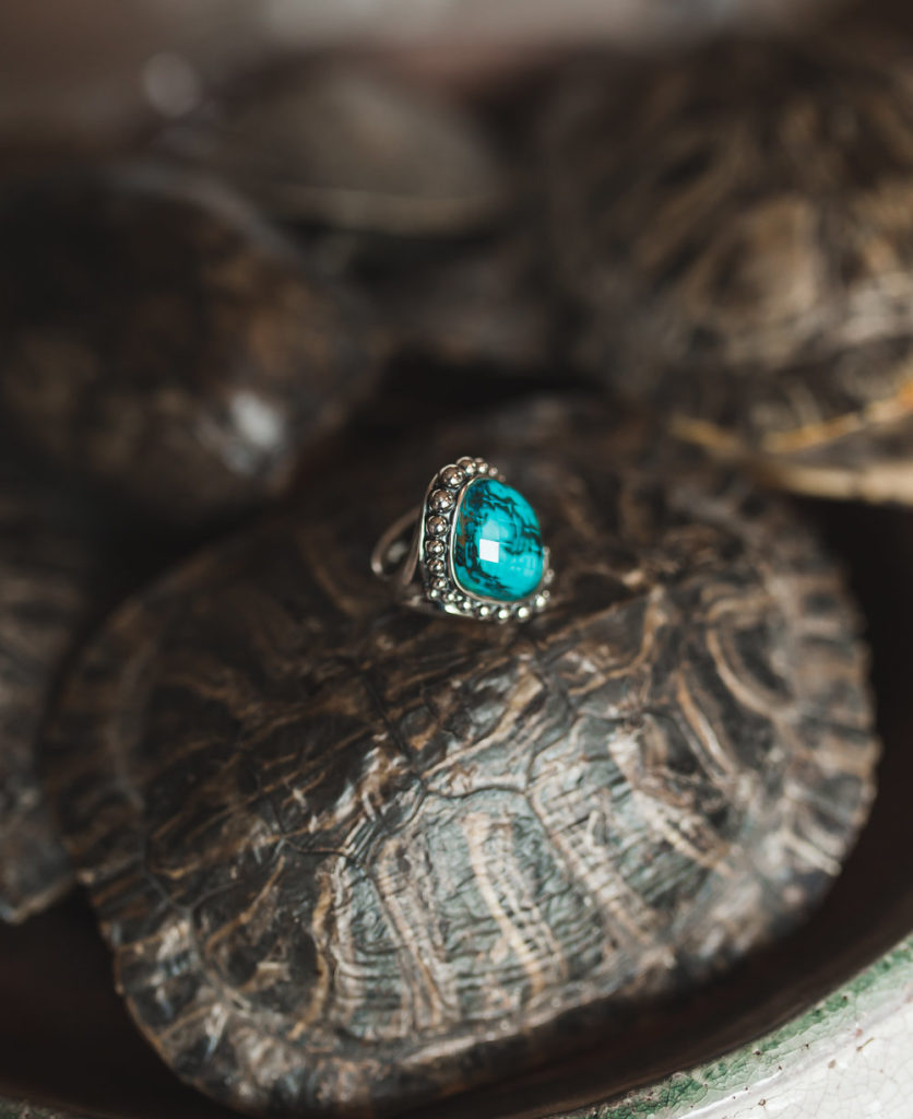 Lagos Maya Statement Ring- Silver Beaded Ring - Ocean Blue Stone
