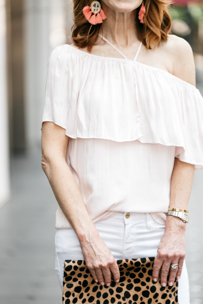 State Halter Neck Ruffle Blouse- Pink ruffle blouse- Off the shoulder ruffle blouse