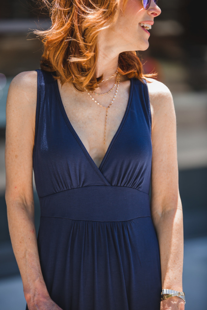 blue maxi dress- v-neck maxi dress-cotton maxi dress