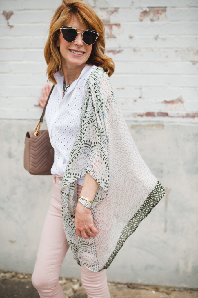 white eyelet top- pink jeans- elizabeth Gillett kimono