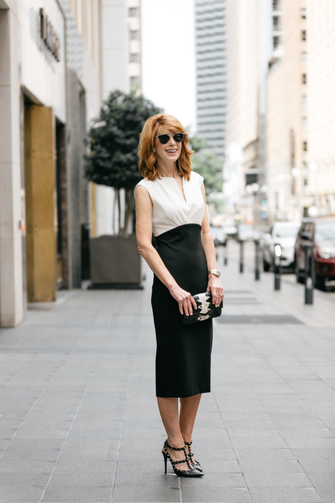 Wedding Guest Dress- Black and White Pencil Dress- Ted Baker Dress