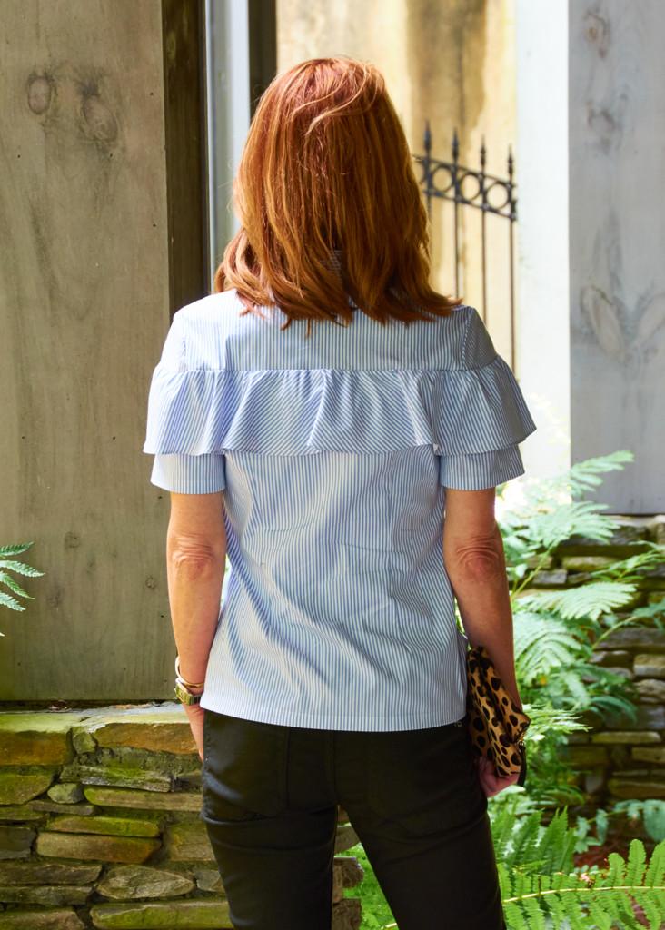 blue ruffle shirt- olive boyfriend jean- kiltie pearl mule