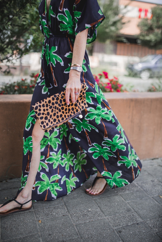 palm tree caftan- black and green palm tree print- black maxi dress with palm trees