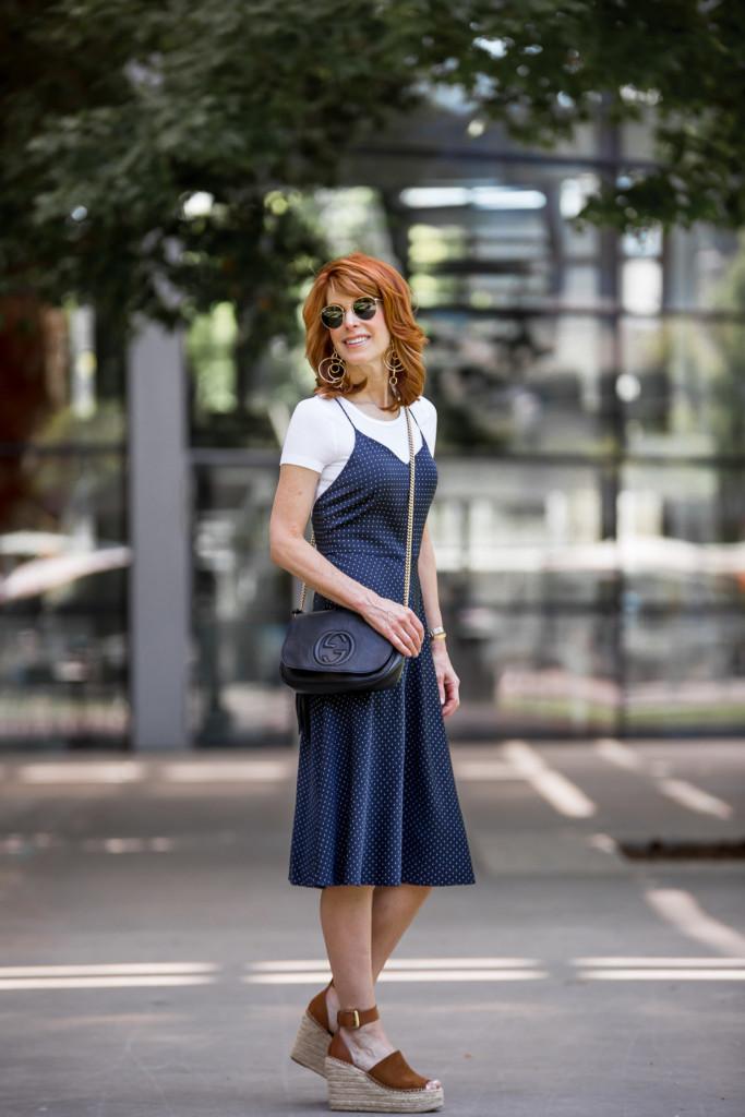 polka dot slip dress- ayr satin dress- blue and white polka dot dress
