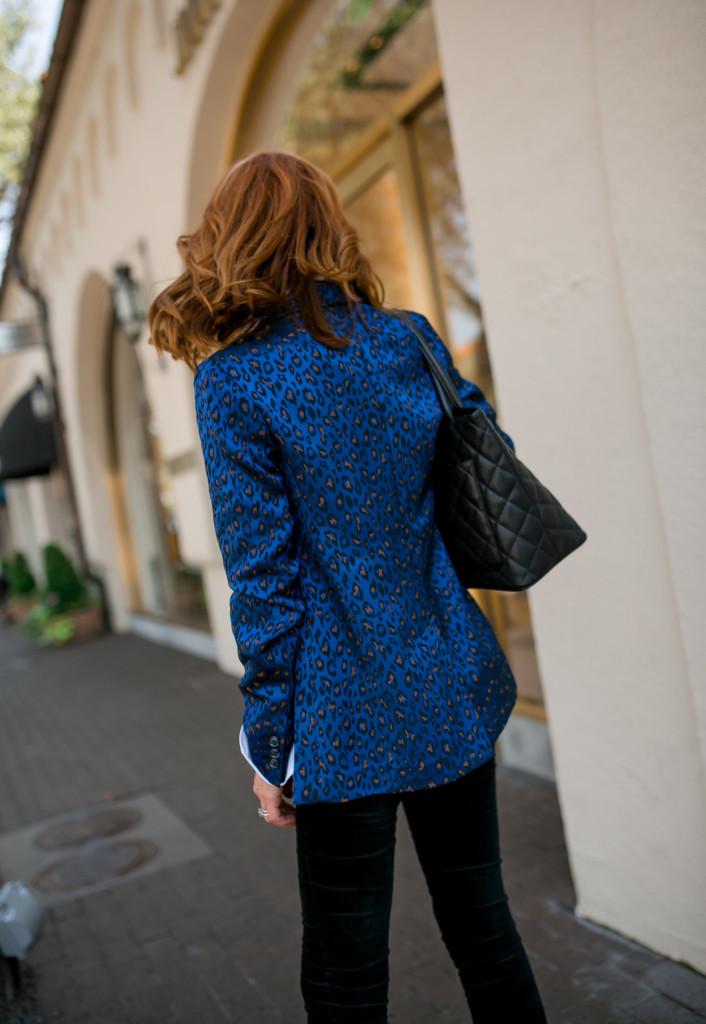 Blue Leopard Blazer- Black Velvet Jeans- Boyfriend Blazer