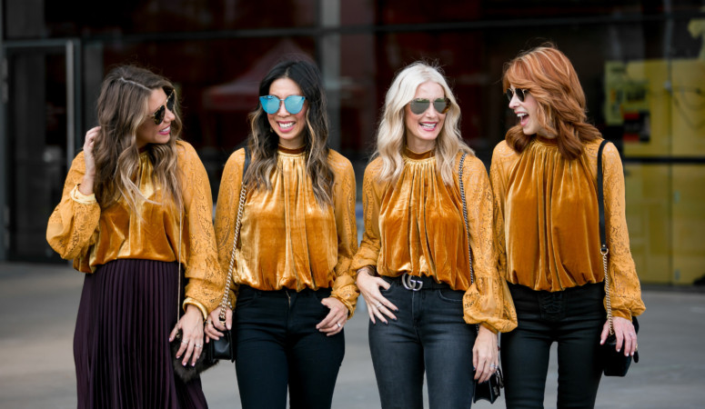 GOLD VELVET TOP WITH CHIC AT EVERY AGE