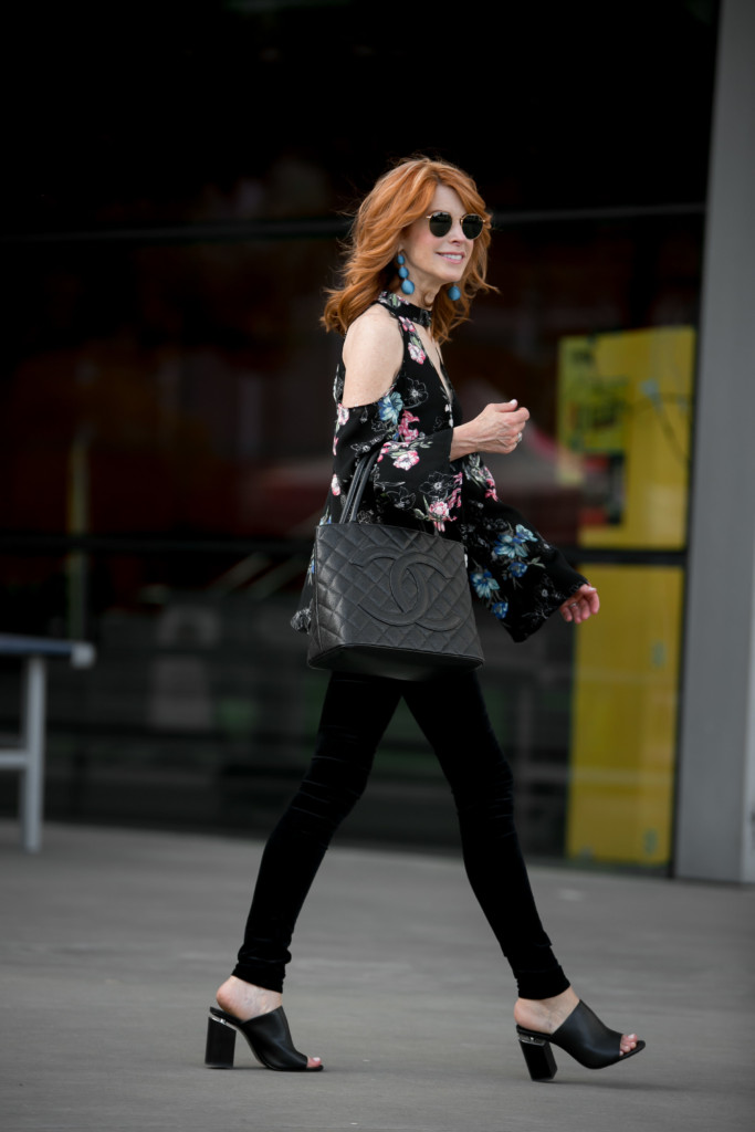 Dark Florals- Dark Floral Coldshoulder Top- Chic at Every Age