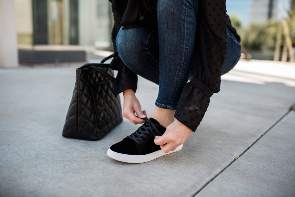 Black Leather Bootie- Black Velvet Sneaker-Comfort Shoes