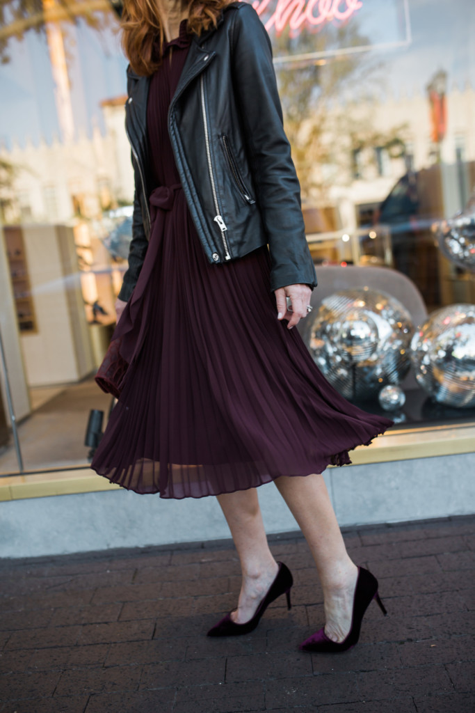 Wine Color Dress- Pleated Dress- Sale Dress