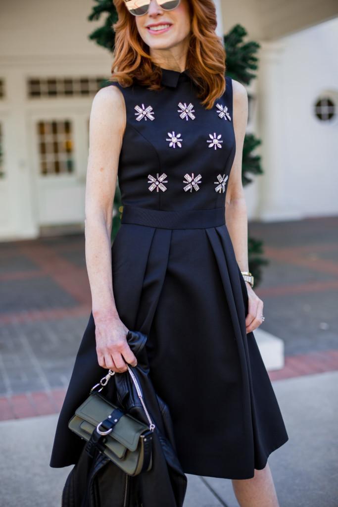 Ted Baker Embellished Fit and Flare Dress- Black Embellished Dress- The-Middle Page Fit and Flare Dress