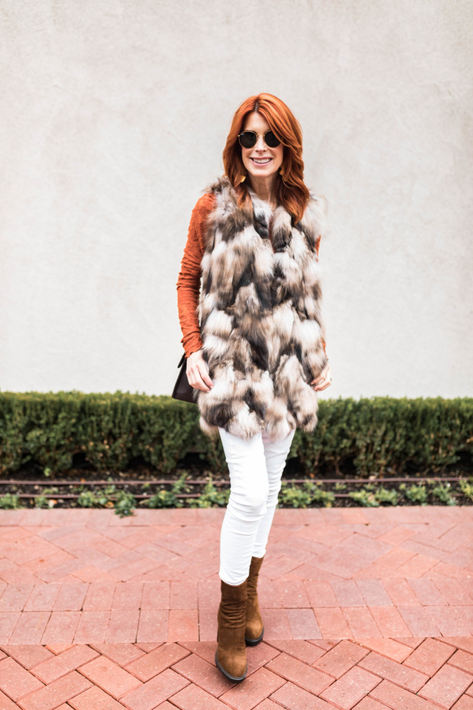 Free People Lace Tee- Fur Vests- White Jeans