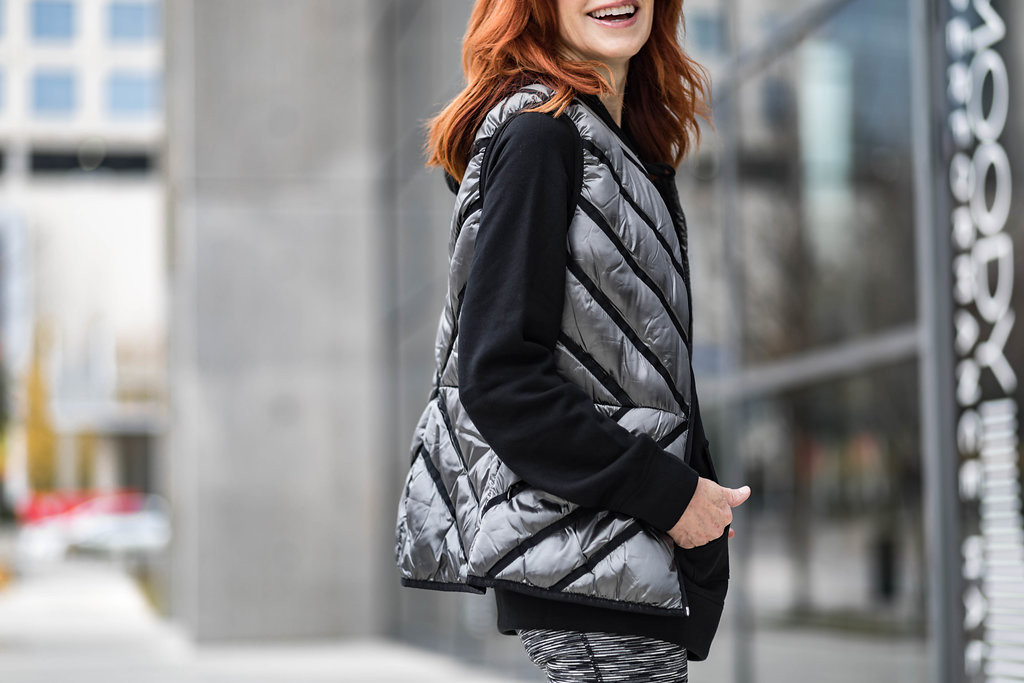 Chic at Every Age Exercise Gear- Exercise Clothes, Silver Quilted Vest