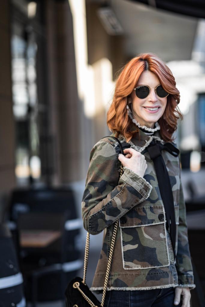 Camo Jacket with Bow- Veronica Beard Camo Jacket- The Middle Page Camo Jacket