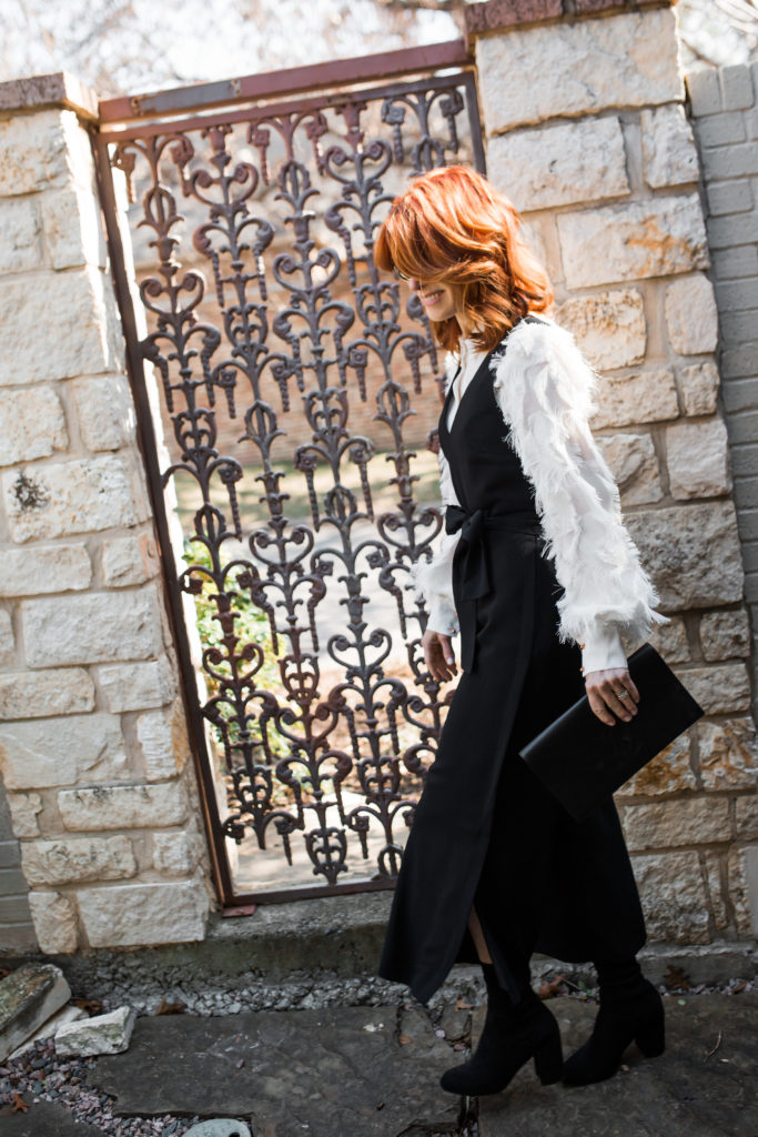 Black v-neck jumpsuit- Black Club Monaco bow tied jumpsuit- The Middle Page Black v-neck jumpsuit