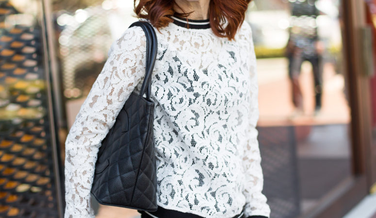 BLACK AND WHITE LACE TOP AND TWO GIVEAWAYS!