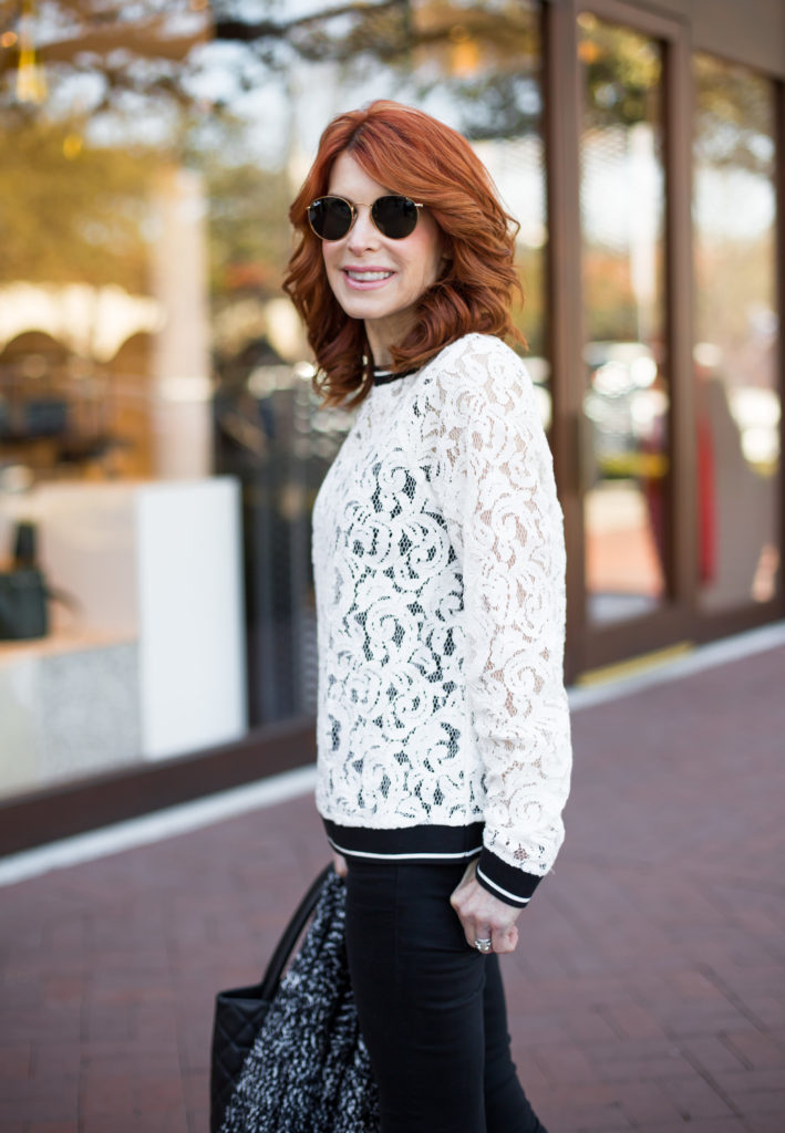Black and White Lace Top- White Lace Top with Black Trim- Black and White Lace Top The Middle Page