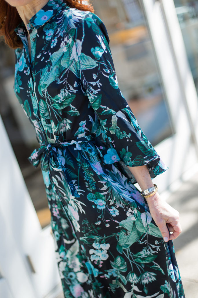 The Middle Page Fashion Blogger in long Blue and Green Tropical Print Dress