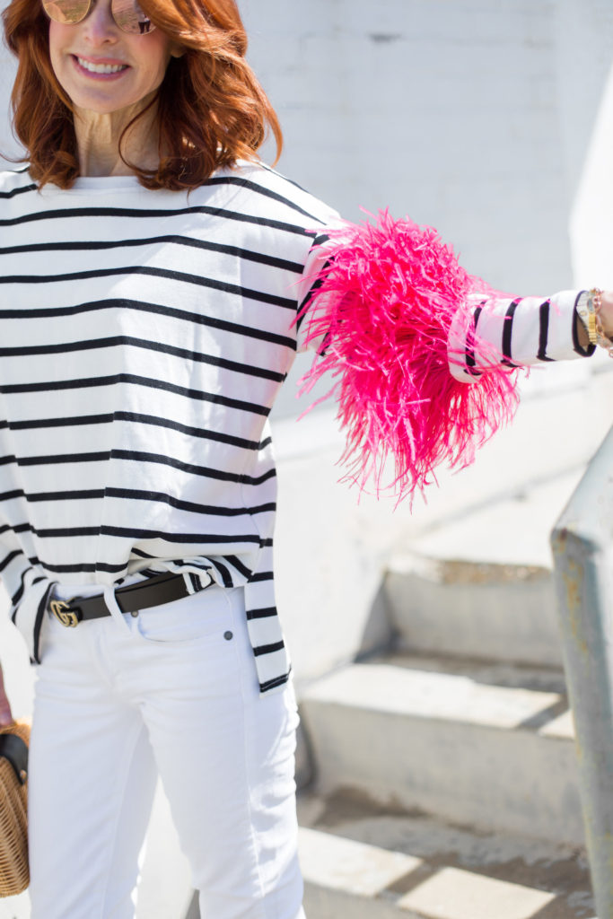 Black and White Stripe Tee with Pink Feathers- Black and White Stripe Tee with Feathers- Lauren's Hope Medical ID Bracelet