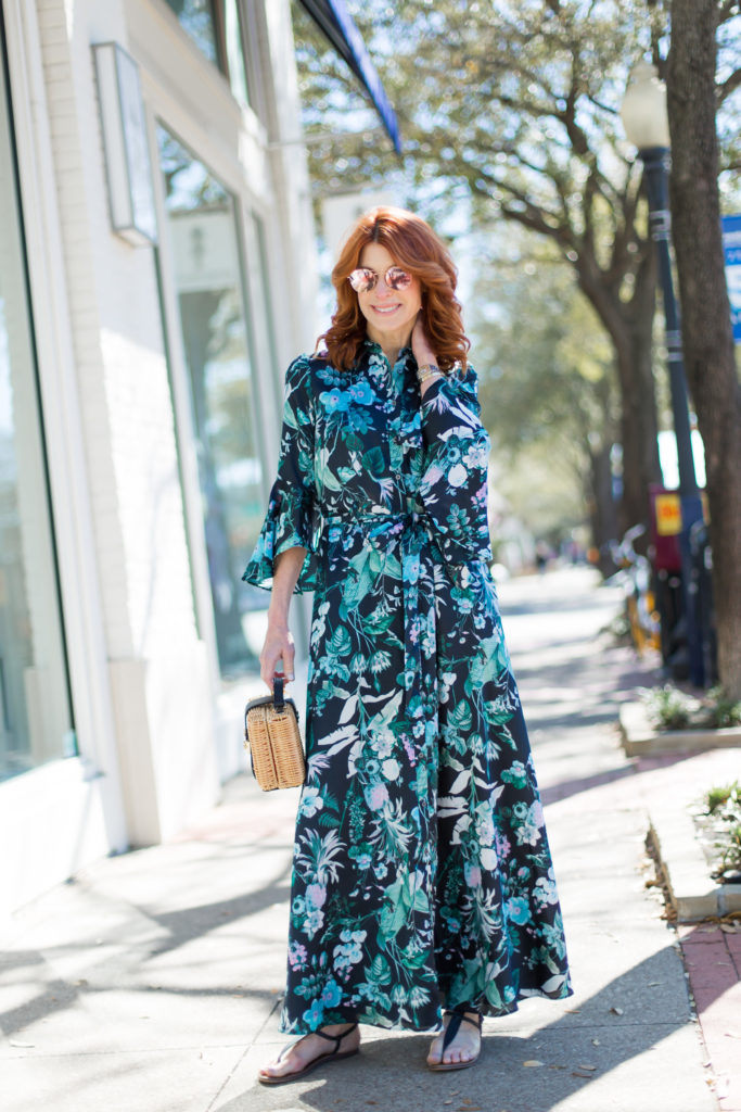 The Middle Page Fashion Blogger in long Botanical Tropical Print Dress