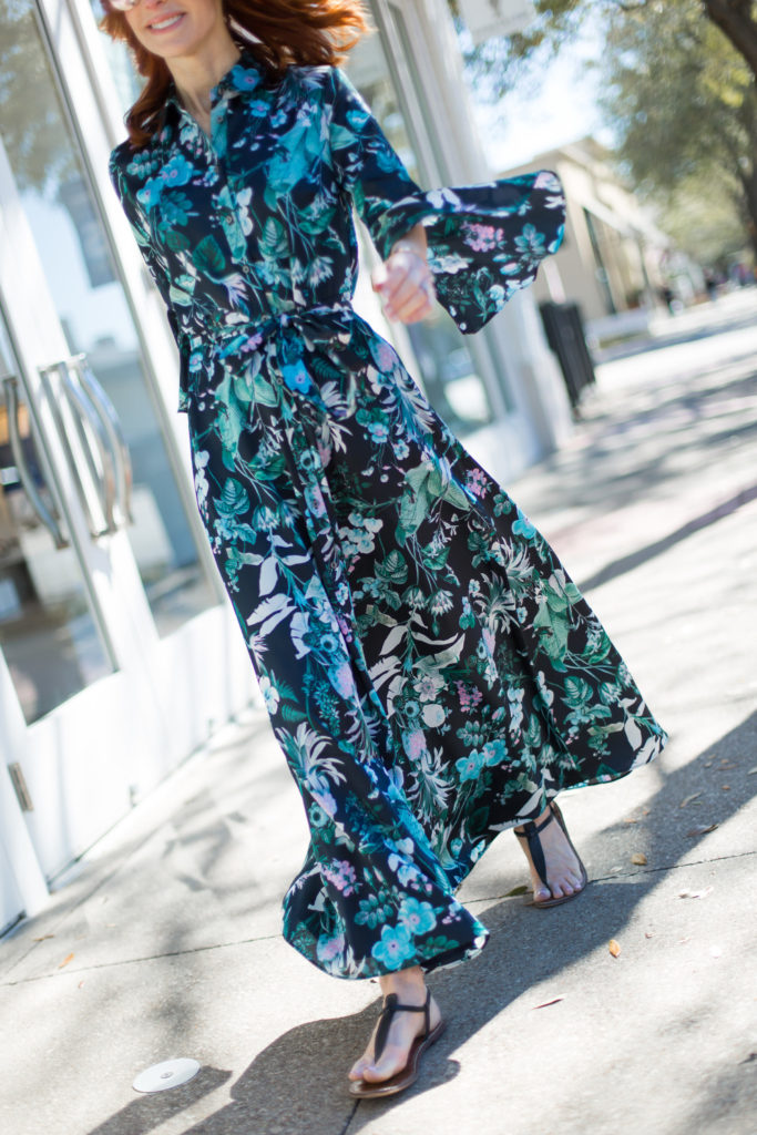 The Middle Page Fashion Blogger in long Botanicall Print Dress