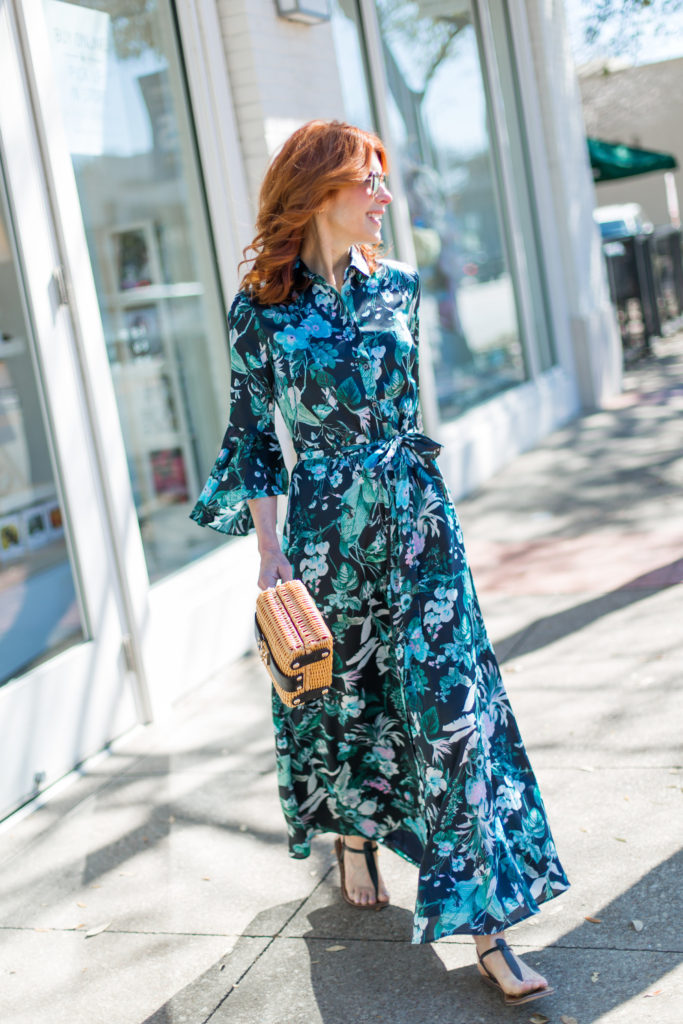 The Middle Page Fashion Blogger in long Botanical Print Dress