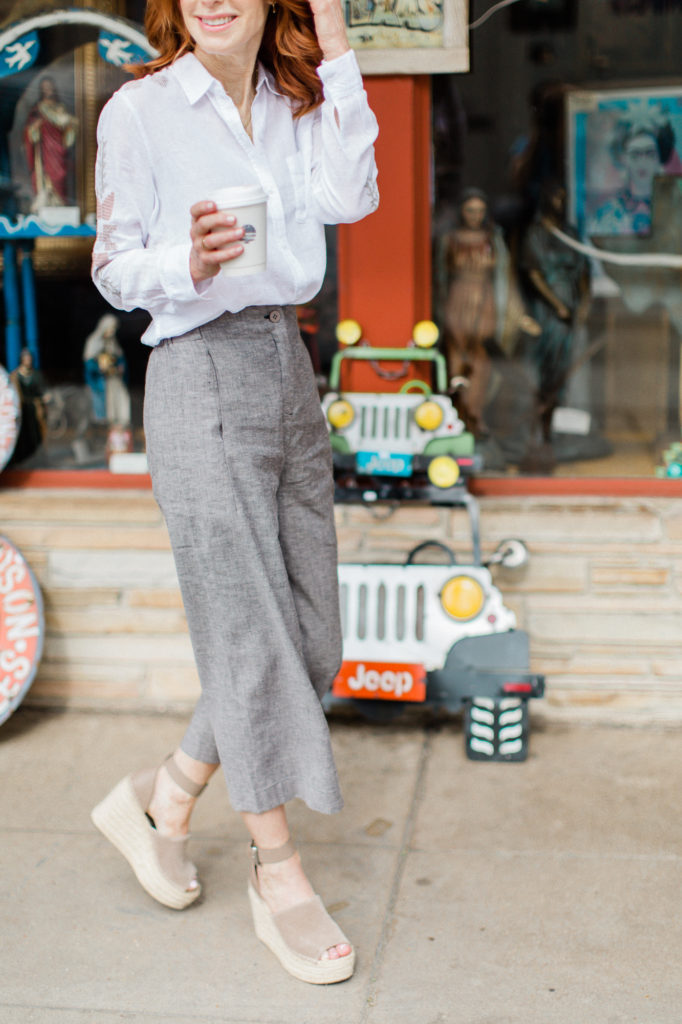 The Middle Page in White Linen Shirt and Wide Leg Pant