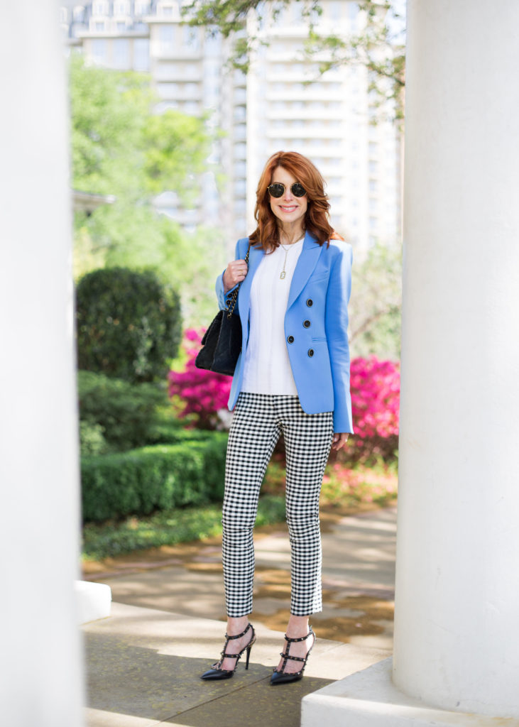 The Middle Page in Beautiful Blue Blazer and Black and White Check Pants