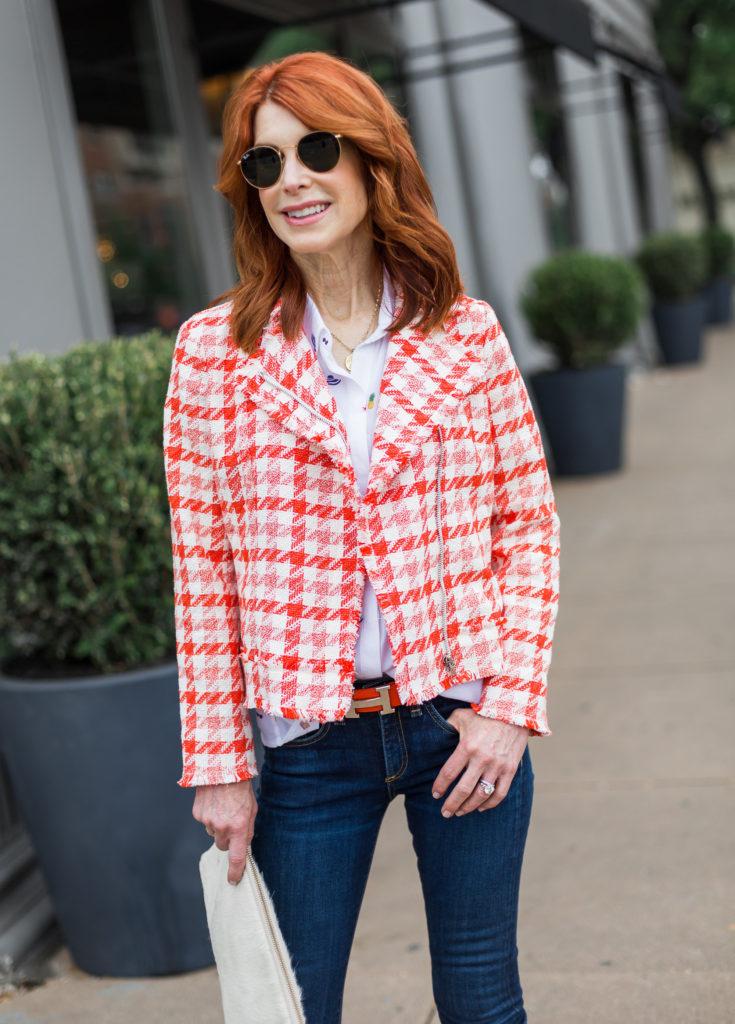 A Happy Orange and White Moto Jacket