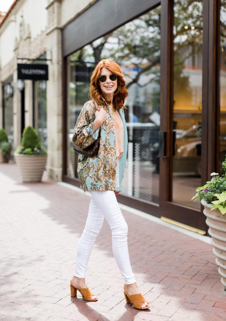 Sparkle Kimono and White Jeans