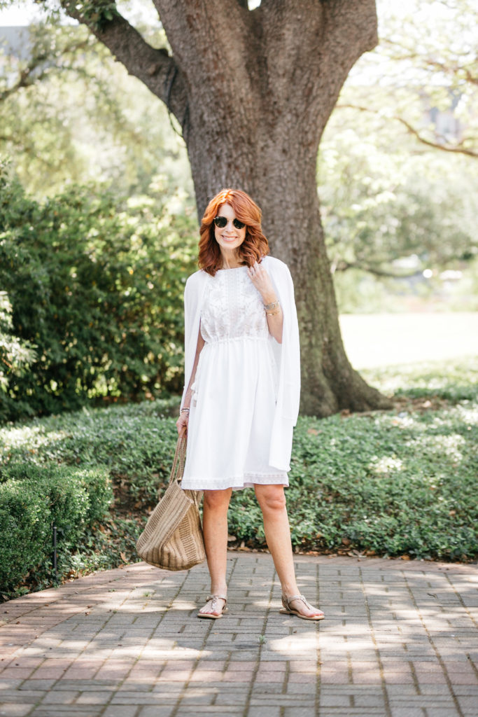 White embroidered dress from J.Jill with Chic at Every Age