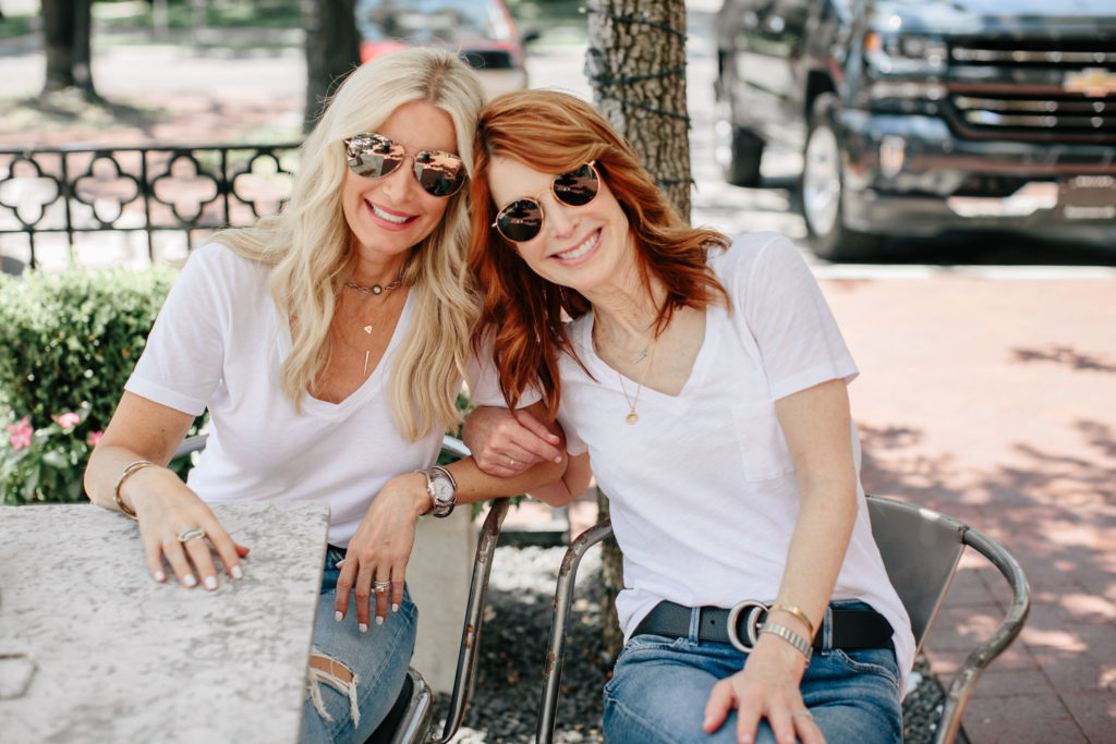 Cathy and Heather are wearing White Tees, jeans and Gucci belt - The Middle Page