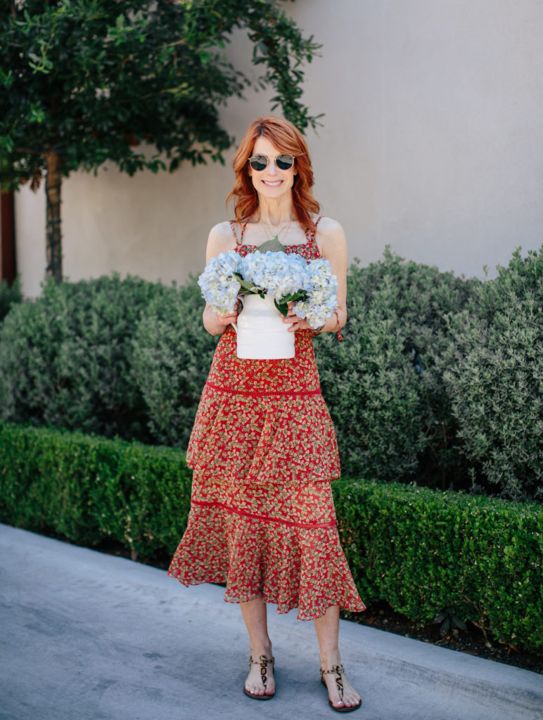 Cathy is wearing a Clarissa Floral Tiered Maxi Dress Nordstrom dress - The Middle Page