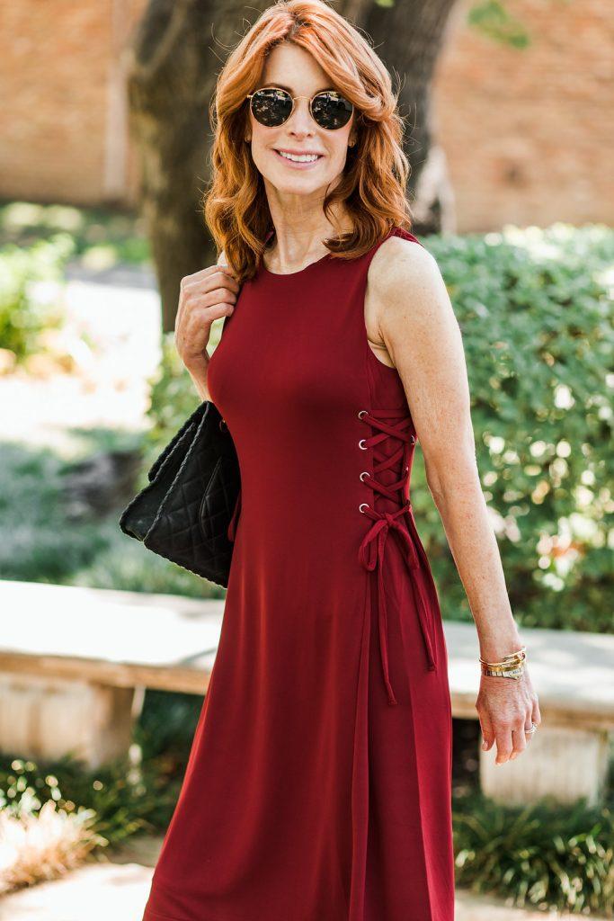 Side Tie Knit Flare Dress | Ann Taylor