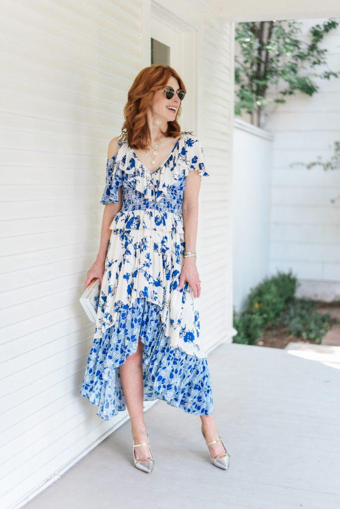 MISA Los Angeles Liv Floral-Print Ruffle High-Low Dress