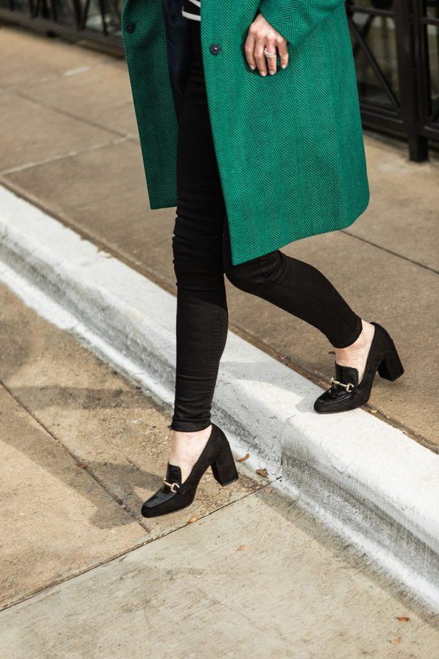 Marks and Spencer Green Coat with Black Block Heel Loafer