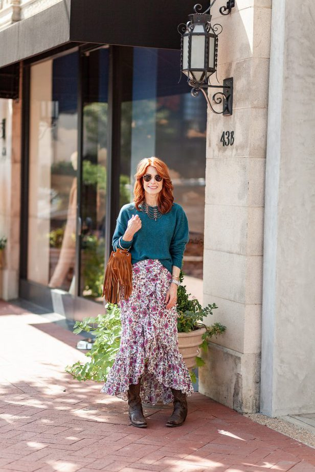 Floral Skirt with Free People Cashmere Sweater and Cowboy Boots