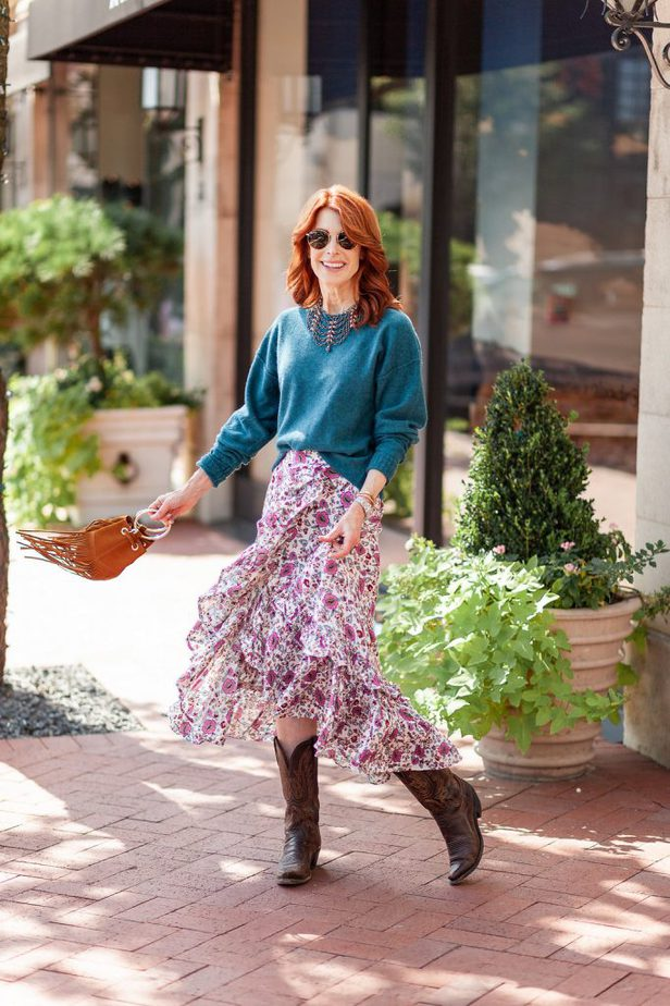 Floral Skirt with Free People Cashmere Sweater